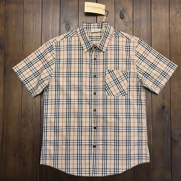 Burberry More Plaid Stripe Tee Shirt Women Men Top B-MG-FSSH  Brown