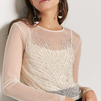 Sheer Mesh Sequin Top