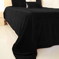 Luxury Black Bedspread 5 Pillow Cover -Couture Black Luxe Velvet Bedding Set -King Bedspread -Coverlet and Pillows -Gift -Valentine -Wedding