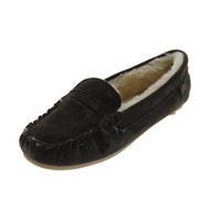 G.H. Bass & Co. Womens Suede Faux Fur Lined Moccasin Slippers
