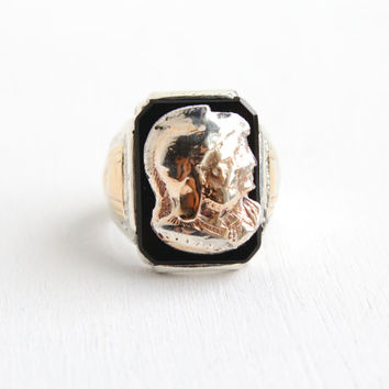 Antique Sterling Silver & 10k Onyx Men's Cameo Ring- Size 8 1/4 Roman Soldier Warrior Etched Jewelry