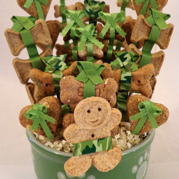 Dog biscuit treat basket in green bowl with pawprints, unique gift, birthday, camo, camouflage