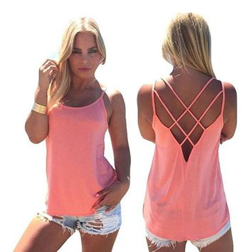 Criss Cross Back Tank Tops for Women