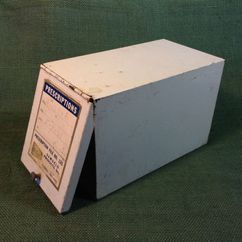 Vintage Prescription File Box - Metal with Hinged Door - Samuels Products - Rx Drug Store Pharmacy