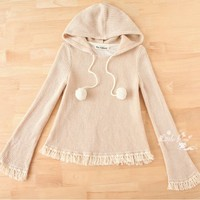 [Free Shipping] Hooded Fringed Sweater HS1227