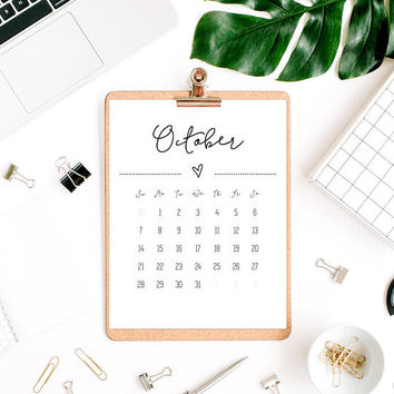 Downloadable calendar 2018, Printable monthly calendar 2018, Download calendar pdf, Cute printable calendar pages 2018, Office cubicle decor