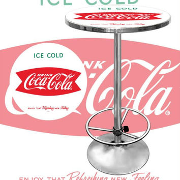 Vintage Coca-Cola Coke Pub Table - Ice Cold Design