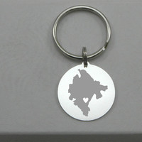Montenegro Keychain - Personalized Heart in any City - Sterling Silver