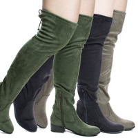Yah By Soda, OTK Over Knee Slouch Boots w Back Lace & Block Stacked Heel