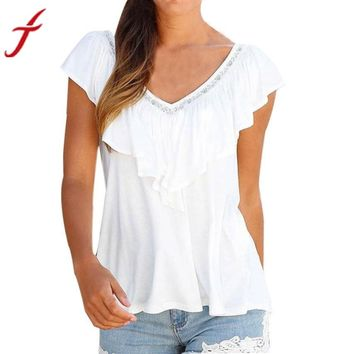 Women Ruffle Blouse  V Neck Sleeveless Shirt Beach Holiday Casual Simple Solid  Top