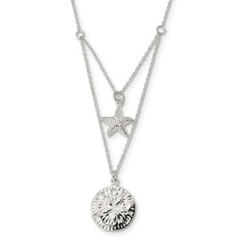 Sterling Silver 2-strand Starfish and Sand Dollar 18 inch Necklace QG4426