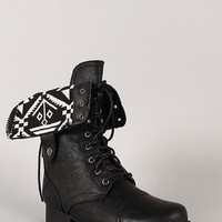 Wild Diva Lounge Jetta-25Q Tribal Cuff Military Lace Up Boot