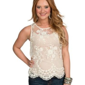 Karlie Women's Ivory Lace Tank Top