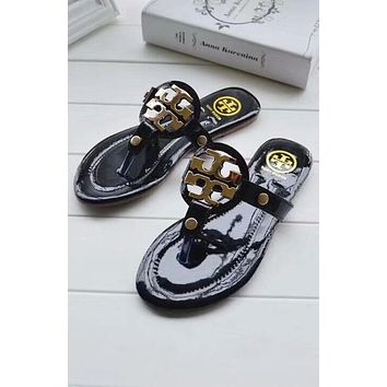 Tory Burch Women Fashion Leather Slipper Sandals Shoes
