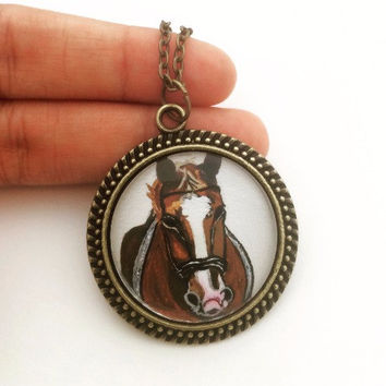 Horse Necklace, Horse Jewelry, Horse Pendant, Horse Portrait, Horse Necklace Personalized, Equestrian Necklace, Horse Lover Gifts, For Her