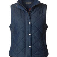 LE3NO Womens Lightweight Fully Lined Quilted Puffer Sleeveless Denim Vest with Pockets