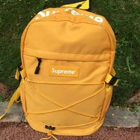 Supreme New Fashion Canvas Backpack College High School Bag Travel Bag H 8-26 Yellow