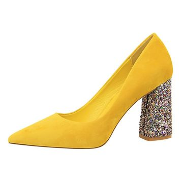 2019 Female 8cm High Glitter Heels Block Pumps Ladies Sexy Chunky Tacones Heels Woman Scarpin Elegant Party Wedding Yellow Shoes