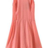 ROMWE Backless Asymmetric Sheer Pink Dress