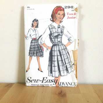Advance 2964 Junior Pleated Skirt with Weskit and Blouse with Bow {1960s} Vintage Sewing Pattern