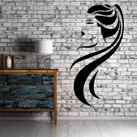 Hot Girl Ponytail Long Hair Beauty Salon Decor Wall Mural Vinyl Sticker Art Unique Gift M157