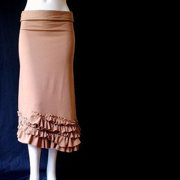 Ruffled hem long skirt , organic cotton skirt, maxi skirt, organic clothes, more colors