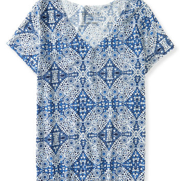 Oversized Mosaic Slub-Knit V-Neck Tee