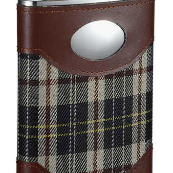 Visol Theodore Leather & Plaid Stainless Steel Hip Flask - 8oz