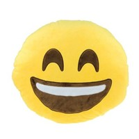 Lowpricenice(TM)Lovely Smiley Mini Cartoon Emoji Emoticon Round Cushion Throw Pillow Soft Toy Yellow 30*30cm (Laughter)