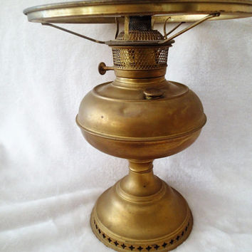 Oil Lamp B&H Bradley and Hubbard Antique Brass Oil lamp, Rustic Home Decor
