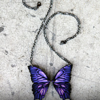 Acrylic Laser Cut Puple Butterfly Wings Statement Necklace - SMALL