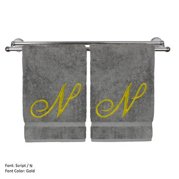 Monogrammed Hand Towel, Personalized Gift, 16 x 30 Inches - Set of 2 - Gold Embroidered Towel - Extra Absorbent 100% Turkish Cotton - Soft Terry Finish - For Bathroom, Kitchen and Spa - Script N Gray