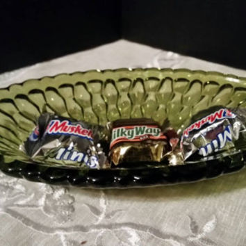 Avocado Oblong Green Glass Dish Vintage Indiana Glass