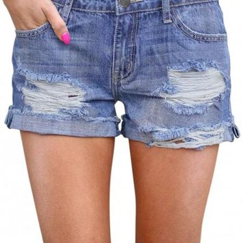 Ripped Vintage Denim Shorts