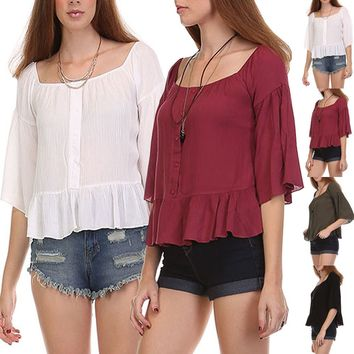 Off Shoulder Kimono Sleeve Chiffon Sheer Ruffle Blouse Cropped Shirt Top