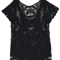 Black Crochet Lace Mesh T-Shirt