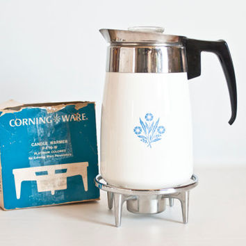 Vintage New in Box Corning Ware Percolator Candle Warmer Accessory, Platinum Color Chrome Trivet Coffee Warmer Stand, P-119-W