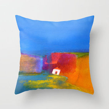 the little white house Throw Pillow by agnes Trachet | Society6