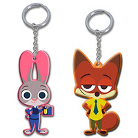 """2"""" Zootopia Officer Judy Hopps & Nick Wilde Figures Toys Charms Keychain Dangle"""