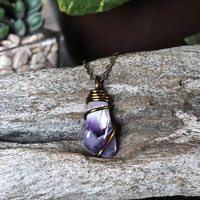 Natural Amethyst Necklace, Wire Wrapped Stone Jewelry, Purple Gemstone Pendant
