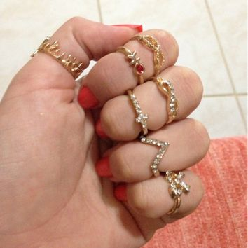 1 Set 7 pcs Women's Rhinestone Bowknot Knuckle Midi Mid Finger Tip Stacking Ring