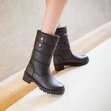 Mid-Calf Round Toe Faux Fur Thick Square Flat Heels Woman's Winter Boots