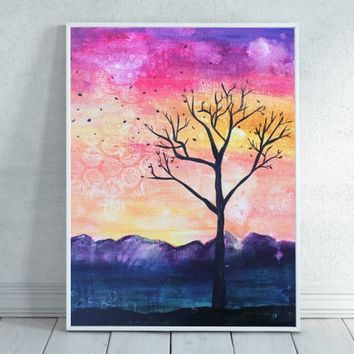 Fall Tree Silhouette, Colorful Tree Silhouette, Tree Painting, Tree with sunset, Sunset, Painting, Download, Tree Art, Home Decor, Printable