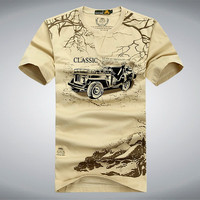 Elastic Cotton T Shirt Men Summer AFS JEEP Brand Clothing Casual 3D T-Shirts Army Tactical T-Shirt Military Style Tshirt UMA012