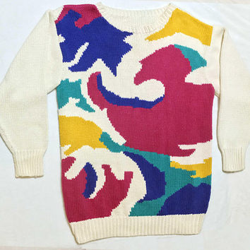 1970s Crew Neck Pullover Knit Sweater, beige with abstract magenta, teal, blue, mustard yellow front design, 70s Grampa style avant garde