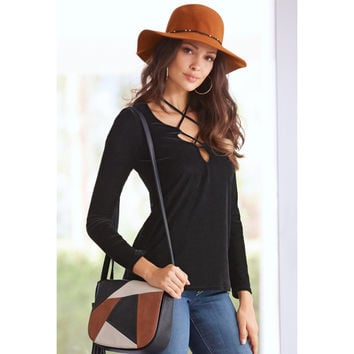 Black Lattice Front Long Sleeve Top