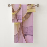 Abstract Motions, Modern Light Pink Yellow Fractal Bath Towel Set