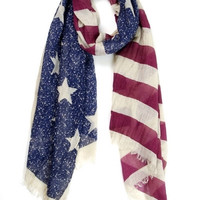 Stars and Stripes Washed Vintage Scarf