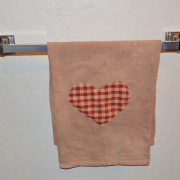 Valentine Towel, Primitive Towel, Valentine's Day, Rustic Towel, Folk Art, Linen, Hand Towel, Kitchen Accent, Country Decorating, Plaid