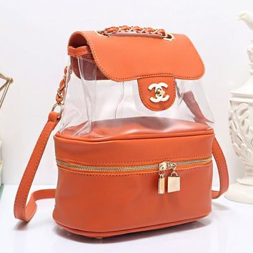 """Chanel""Transparent package Backpack female inclined School Bag B-OM-NBPF Orange"